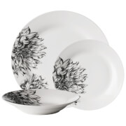 Premier Housewares 12 Piece Avie Botanic Dinner Set - Teal Porcelain