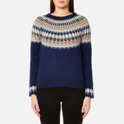 GANT Women's Cotton Wool Fairisle Crew Neck Jumper - Persion Blue