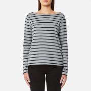 GANT Women's Breton Stripe Boatneck Jumper - Grey Melange