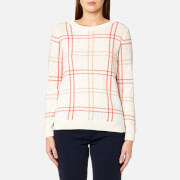 GANT Women's Checked Lambswool Crew Neck Jumper - Eggshell