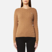 GANT Women's Stretch Cotton Cable Crew Jumper - Camel Melange
