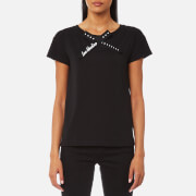 Love Moschino Women's Love Bow Neck T-Shirt - Black