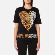 Love Moschino Women's Leopard Heart Logo T-Shirt - Black