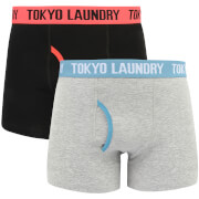 Tokyo Laundry Men's Heiron 2 Pack Boxers - Paradise Pink/Niagara Blue