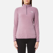 The North Face Women's 100 Glacier 1/4 Zip Fleece Jumper - Black Plum Stripe