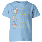 Eat, Beach, Sleep, Repeat Kid's Blue T-Shirt