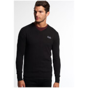 Superdry Men's Orange Label V-Neck Jumper - Charcoal/Black Twist