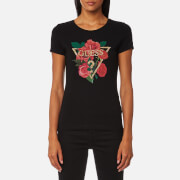 Guess Women's Short Sleeve Diamond Rose T-Shirt - Jet Black