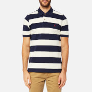 Joules Men's Striped Pique Polo Shirt - French Navy Stripe