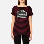 Karl Lagerfeld Women's Rue Lagerfeld Striped T-Shirt - Rhubarb