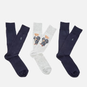 Polo Ralph Lauren Men's 3 Pack Bear Socks - Grey/Navy