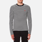 AMI Men's Stripe Heart Logo Long Sleeve T-Shirt - Navy/White