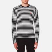 AMI Men's Stripe Heart Logo Long Sleeve T-Shirt - Navy/White