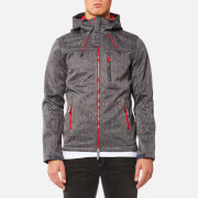 Superdry Men's Hooded Windtrekker Jacket - Dark Charcoal Grit/Rebel Red