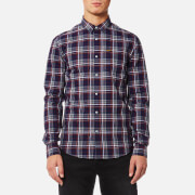 Superdry Men's Raw Oxford Long Sleeve Washbasket Shirt - Holywell Navy Check
