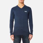 Superdry Men's Orange Label V Neck Knitted Jumper - Dull Navy