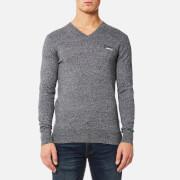 Superdry Men's Orange Label V Neck Knitted Jumper - Steel Twist