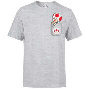 Nintendo Super Mario Toad Pocket Heren T-shirt - Grijs
