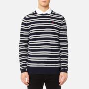 MUSTO Men's Lune Crew Neck Knitted Jumper - True Navy/Sail White