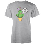 Kawaii Cactus Hug Me Grey T-Shirt