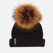 BKLYN Women's Merino Wool Hat with Tiger Pom Pom - Black