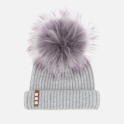 BKLYN Women's Merino Wool Hat with Grey/Purple Pom Pom - Light Grey