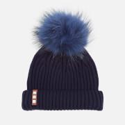 BKLYN Women's Merino Wool Hat with Navy Pom Pom - Navy