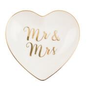 Sass & Belle Mr & Mrs Gold Heart Trinket Dish
