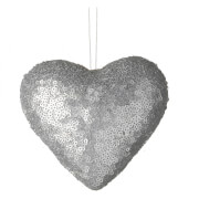 Parlane Sequin Hanging Decoration (10 x 12cm) - Silver Heart