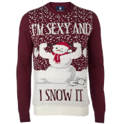Threadbare Men's Sexy and I Snow It Christmas Jumper - Warm Burgundy
