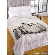 Dreamscene Penguin Group Faux Fur Throw (150 x 200cm)