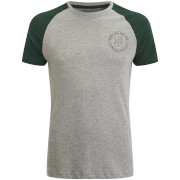 Brave Soul Men's Everest Raglan T-Shirt - Ecru Marl/Bottle Green