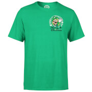 Nintendo® Super Mario Luigi Merry Christmas Pocket Wreath T-Shirt - Grün