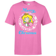 Nintendo® Super Mario Peach White Wreath Merry Christmas T-Shirt - Pink