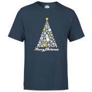 Nintendo White Christmas Merry Christmas Navy T-Shirt