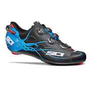 Sidi Shot Matt Carbon Cycling Shoes - Black/Light Blue