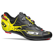 Sidi Shot Matt Carbon Cycling Shoes - Black/Yellow Fluo
