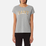 GANT Women's GANT Logo Crew Neck T-Shirt - Grey Melange