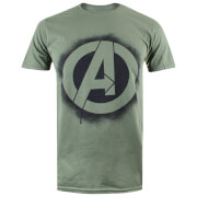 Marvel Men's Avengers Stencil Logo T-Shirt - Mil Green