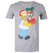 The Simpsons Men's Christmas Beer T-Shirt - Grey Marl