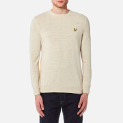 Lyle & Scott Men's Crew Neck Cotton Linen Knitted Jumper - Oatmeal Marl