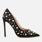 Carvela Women's Alabaster Suede Embellished Court Shoes - Black