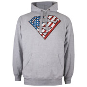 DC Comics Men's Superman Flag Hoody - Grey Marl
