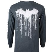 DC Comics Men's Batman Paint Long Sleeved T-Shirt - Dark Heather