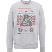 Star Wars Darth Vader Face Knit Grey Christmas Sweatshirt