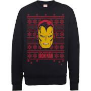 Marvel Comics The Invincible Ironman Face Black Christmas Sweatshirt
