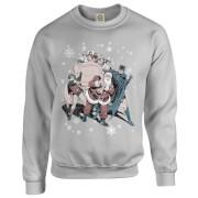 Sweat Homme/Femme Originals Batman et Robin avec le Père Noël- DC Comics - Gris