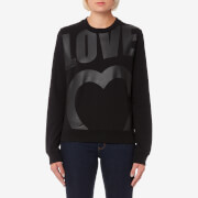 Love Moschino Women's Large Logo Heart Sweatshirt - Black