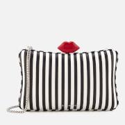 Lulu Guinness Women's Lavinia Stripe Leather Clutch Bag - Black/Chalk