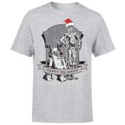 T-Shirt de Noël Homme / Femme Joyeuses Fêtes Droïdes Star Wars - Gris